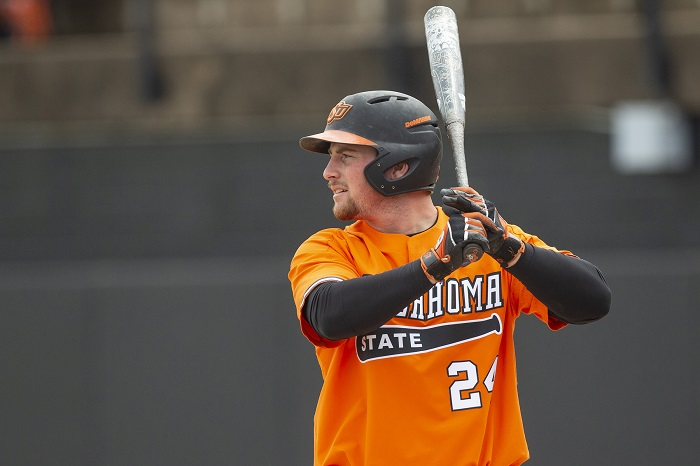Oklahoma State Cowboys vs Kansas Jayhawks Baseball Game, Sunday, April 22, 2018, Allie P. Reynolds Stadium Stadium, Stillwater, OK. Bruce Waterfield/OSU Athletics